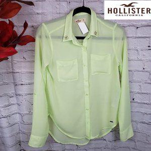 HOLLISTER GREEN SHEER BLOUSE SIZE XS